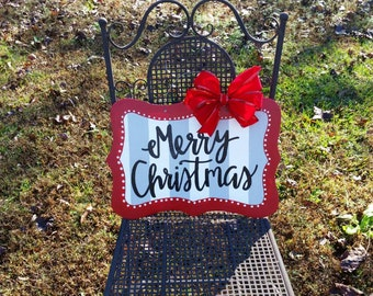 Merry Christmas door hanger, Christmas door decor