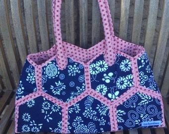 Cotton blue handbag - handbag patchwork - handbag smart hippy