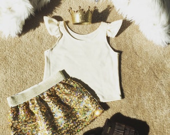 Gold Sequin Skirt for Baby Toddler Little girls