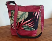 """Womens shoulder bag-Hawaiian print with faux red leather caps. Made with """"Aloha"""" in Hawaii."""