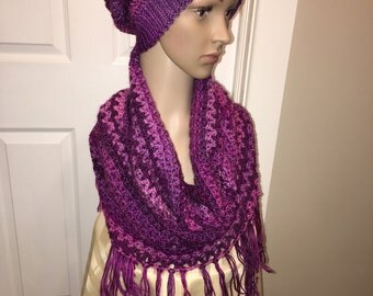Fringed Cowl Scarf & Slouchy Hat Set - Self Striping PurpleTones, Very soft and light yarn. Price Includes Shipping!