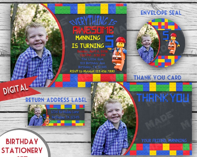 Digital Chalkboard LEGO Photo BIRTHDAY STATIONERY Set, First Birthday, Second Birthday, Girl Birthday, Boy Birthday