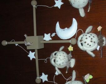Needle felted Baby Owl Nursery Mobile