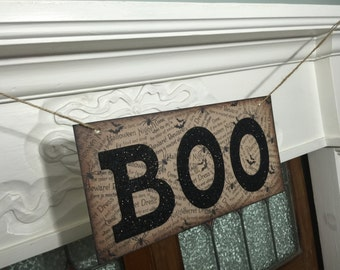 Halloween Banner, Halloween Sign, BOO Banner, Halloween Decor, Fall Photo Prop