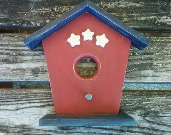 Decorative Patriotic Birdhouse in Red, White, and Blue with Stars - for Wall or Door