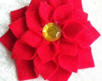 red, felt, dahlia flower, handmade, brooch, pin
