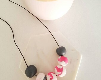 Handmade polymer clay beaded necklace- marbled pink and grey