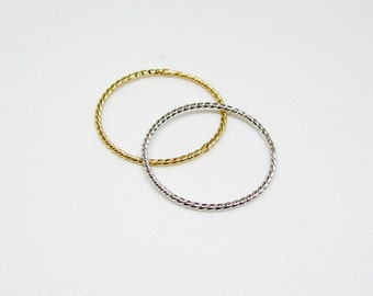 Twisted Sterling Silver Ring - Dainty Braided Ring - Ultra Thin Twist Ring - Minimal Stacking Ring - Gold Plated BraidRing