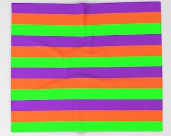 Orange Purple Green Stripe Blanket, Orange Purple Blanket, Orange Purple Blanket, Halloween Blanket, Halloween Decor, Green Purple Blanket