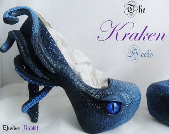 The Kraken Heels Custom Hand Sculpt Paint Black Blue Shoe Size 3 4 5 6 7 8  High Wedge Sea Abyss Creature Monster Mythical Octopus Squid