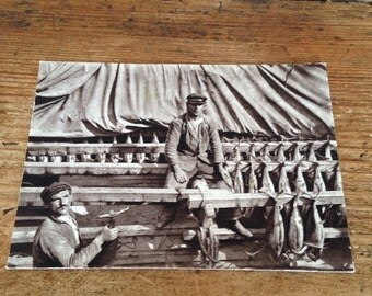 French Sepia Postcard - Sardines at Douarnenez