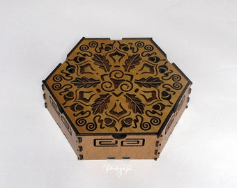 Hexagon decorative box for jewelry, treasure, stash, gift box, lasercut, wood with triskelion, oak leaves, acorn design for druids