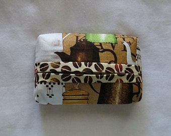Travel Tissue Holder - Pocket Tissue Holder - Tissue Cover - Purse Tissue Package - Coffee-Themed Fabric