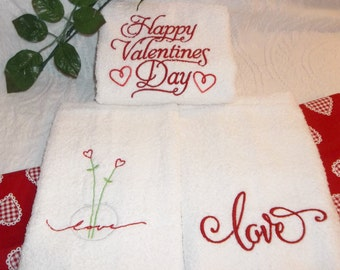 Happy Valentines Day Love Heart Flowers Embroidered Wedding Bridal Shower Hand Guest Towel Bath Kitchen Towels 3 Designs Your Choice