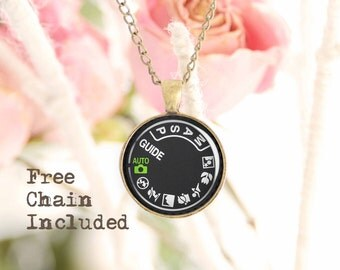 Camera dial necklace. Romantic gift pendant. Free matching chain is included.