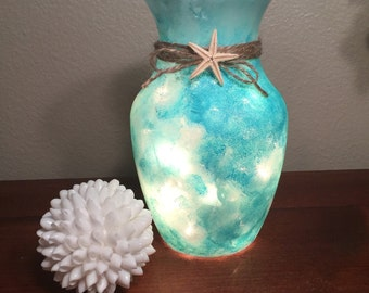 Sea glass beach vase Lighted vase Beach decor Beach wedding centerpiece Teal decor