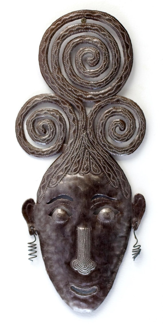 "Swirly Girl Mask Haitian Metal Art 7.5"" X 17.5"""