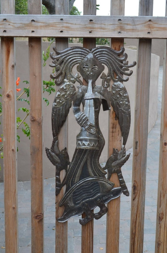 """Large Metal Angel, Indoor and Outdoor Spring Home Decor 15"""" x 28"""""""