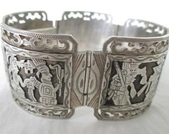 Coin 900 Silver Guatemala Jokeria Antonio Story Teller Panel Bracelet 88.9 grams