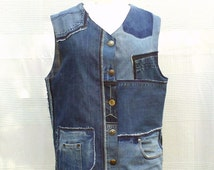 Waistcoat in patchwork of recycled jeans (CUSTOM-MADE REALIZATION) , vest in disconnected then sewn on again recycled blue jeans, ecofashion