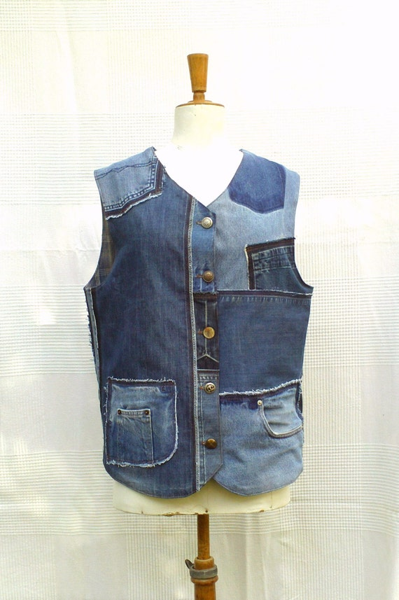Waistcoat In Patchwork Of Recycled Jeans Custom Made