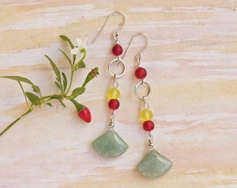 Long colorful stone and glass earrings, Sterling silver dangle earrings, Beach and summer earrings, Handmade gift for her, Flowerofparadise