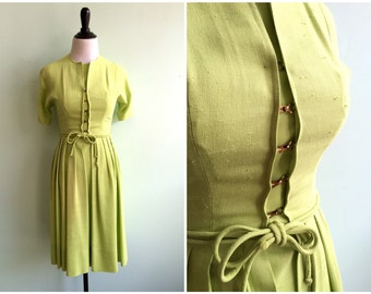 Vintage 1950's Lime Green Day Dress | Size Extra Small