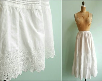 Vintage 1910s Edwardian White Cotton Lace Skirt | Size Small