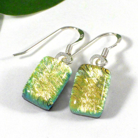 Pale Yellow Dangle Earrings, Art Glass Handmade Jewelry Sterling Hooks