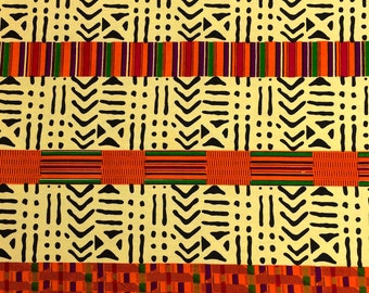 Kente African Print Fabric Cotton Print 44'' wide By The Yard (19009-1)