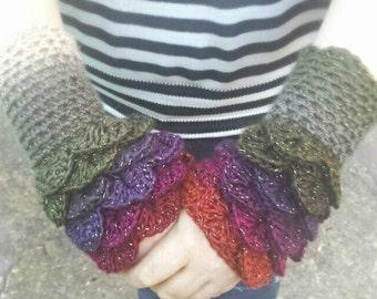 Dragon scale fingerless gloves, crochet armwarmers, mermaid armwarmers, dragon armwarmers, dragon scale gauntlets, dragon scale cuffs gloves