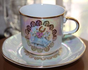 Vintage M & Z Czechoslovakia, Wedding Bells, Luster Tea Cup and Saucer