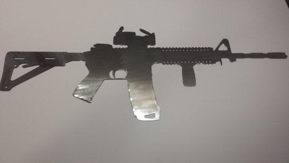 AR15 Gun Silhouette Man Cave Metal Sign Powder Coated or Raw Steel
