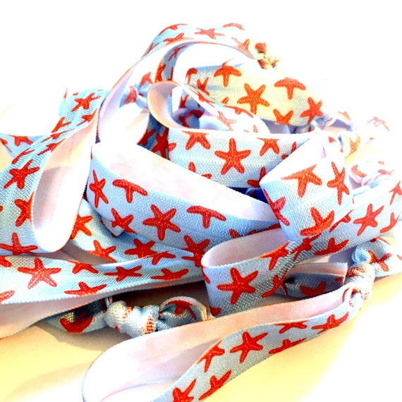 Coral and Light Blue Starfish Hair Tie