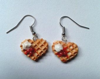 Waffle Earrings-miniature food jewelry polymer clay kawaii