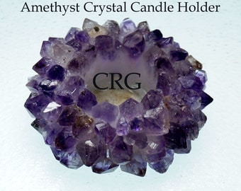 Amethyst Crystal Crown Point Tealight Candle Holder - Amethyst Cluster Candle - Amethyst Crystal - Crystal Candle Holder