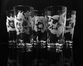 Pokemon Evolution Pint Glass (Set of 5) -Pikachu -Ghastly -Charmander -Squirtle -Bulbasaur- Etched Pint Glass