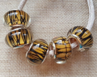 Striped Beads X 5. Amber And Black Beads. Resin Beads. Lampwork Beads. European Bracelet Style. UK Seller