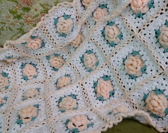 Shabby Chic Vintage Style Pink Roses Afghan. Pink Roses Blanket. Crocheted Throwrug. Roses Granny Square Afghan