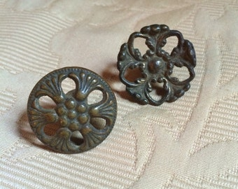 A Pair of Vintage Not Matching Brass Cabinet Pulls Circa First Quarter of the 20th Century to 1930s Furniture Drawer Pulls Accessory Old