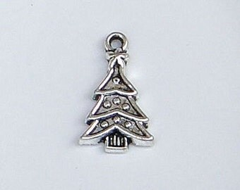 Christmas Tree Charm, Antique Silver Finish (CH-AS-33), 10 count