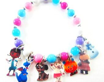 Doc McStuffins Charm Bracelet, Doc McStuffins Necklace, Doc McStuffins Jewelry, Doc McStuffins Party Favors, Doc McStuffins Birthday