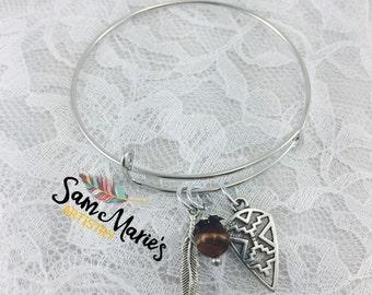 Silver Tribal Style Bangle Bracelet