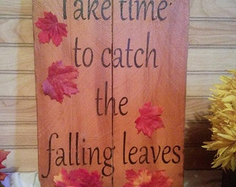 """Autumn """"Falling Leaves"""" Reclaimed Wood Sign"""