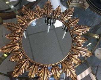 Vintage metal leaf mirror
