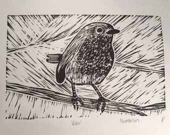 Robin Linocut Print Limited Edition