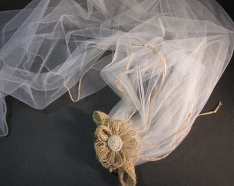 "45"" ivory tulle and burlap wedding veil, comb w/  handmade burlap flower and paper twist roses,hand sewn burlap edge"