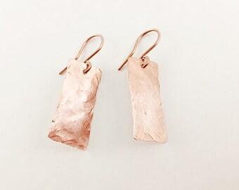 Hammered Copper Earrings, Rectangular