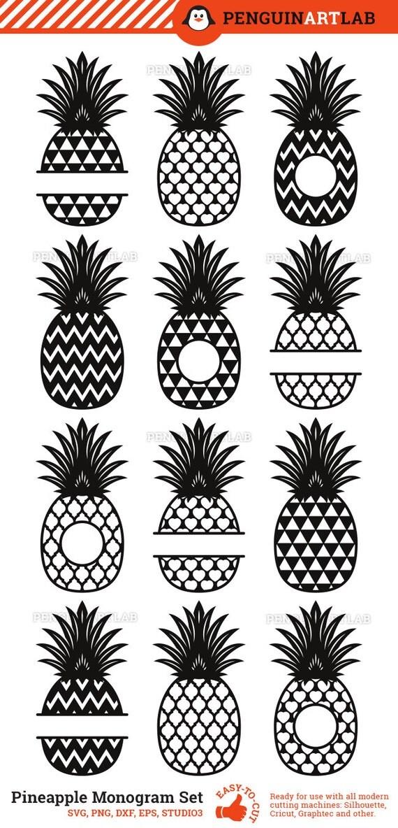 Download Pineapple SVG Cut Files - Monogram Frames and Patterned ...