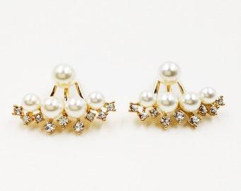 Pearl Ear Jacket, Pearl Ear Jackets, Earring Jackets, Jacket Earrings,Stud Earring Jackets,Earrings Jackets,Gold Earring Jackets,Ear Jackets